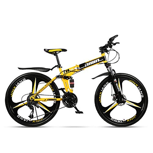JHKGY Folding Mountain Bike, Full Suspension MTB Bikes,Speed Double Disc Brake Adult Bicycle,Outroad Mountain Bike for Adult Teens,yellow,24 inch 30 speed