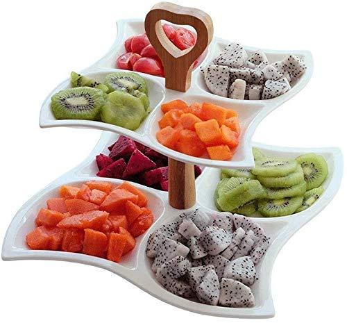 Onior Snack-Dip tazón cuencos vajilla de cerámica de doble placa de la fruta, Multi-grano Postre Fruta del pincho frutos secos de la placa del bocado fuerte Desayuno Plato Vajilla for los regalos rest