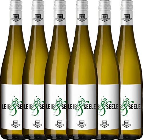 6er Paket - Leib & Seele Cuvée feinherb 2018 - Bergdolt-Reif & Nett mit VINELLO.weinausgießer | feinherber Weißwein | deutscher Sommerwein aus der Pfalz | 6 x 0,75 Liter