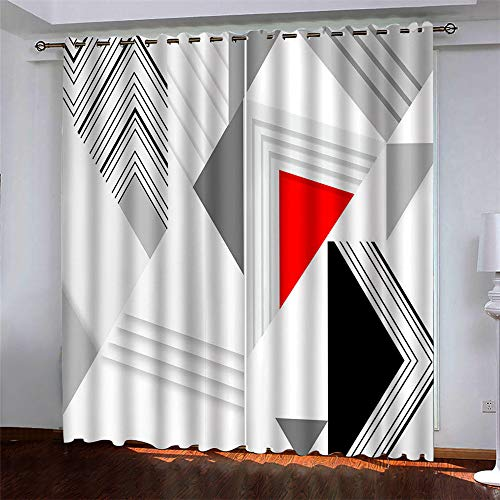 YUNSW Curtains 2 Piece Set,Fashion 3D Digital Printing Polyester Fiber Curtains, Garden Living Room Kitchen Bedroom Blackout Curtains