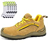 Zapatos de Seguridad Deportivos para Hombres - 7296Y Calzados de Seguridad Trabajo S1P con 5 Pares...