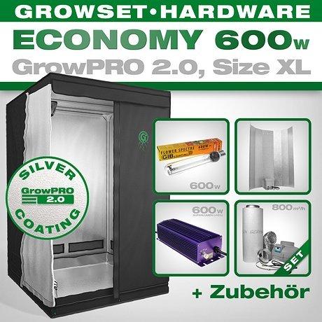 GrowPRO, Growbox 2.0 XL, set per la coltivazione da interno, con lampada a risparmio energetico da 600 W