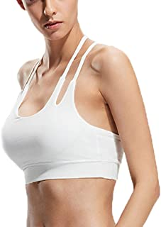 Sports Bra Women-Mei Back Sports Yoga Running Bra Slim Band Non-Wired Shockproof Sports Vest (Color : White, Size : S)