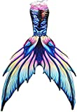 Fabulous Mermaid Tail for Adult Women Men Mermaid Tail with Flipper Beach Costumes Mermaid Swimsuits Sets (A001,Small)