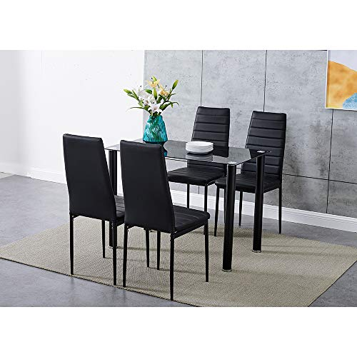 Panana GlassDining Table Set and 4 Soft Black Leather Chairs Seats Kitchen Home Set (105CM table & 4chairs)