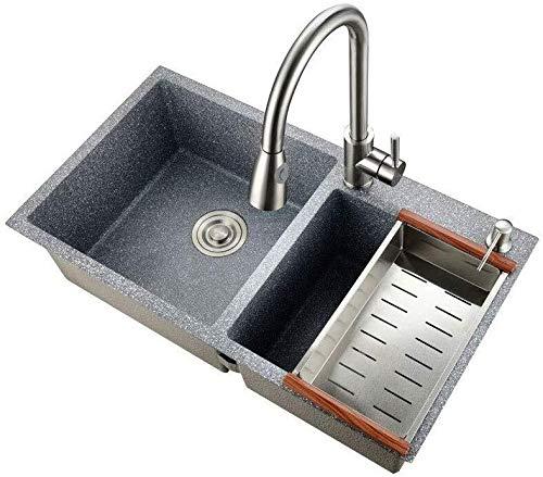 Spüle Kitchen Sink Granit Küche Doppelwaschtisch mit Ablaufeinbauspüle Grau 75cm * 40cm ZHJING
