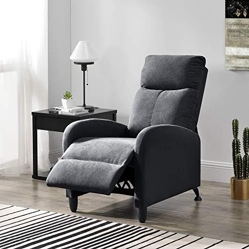 [en.casa] Polstersessel Bregenz Relaxsessel Relaxliege 102x60x92 cm Liegesessel Fernsehsessel Sessel mit Verstellbarer Rückenlehne TV Sessel aus Textil Dunkelgrau