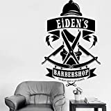 Personalisierte Barber Shop Name Decals Barber Fenster Wall Decal Mann Salon Haircut Bart Interior Decor Logo Salon Aufkleber 42x61cm