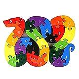 Alphabet Puzzle Bausteine Tier Holzpuzzle, Holzschlange Buchstaben Zahlen Blockspielzeug Für Kinderspielzeug - Schlange