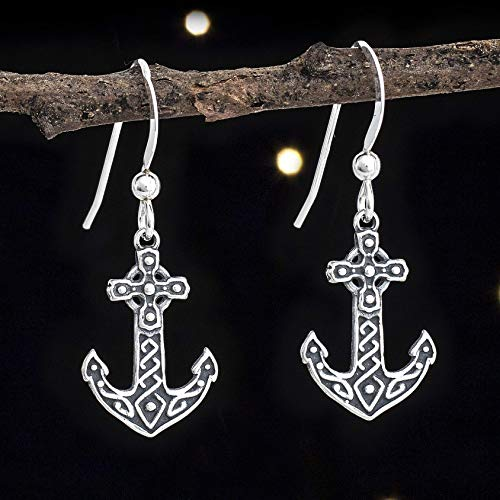 Sterling Silver Celtic Anchor Cross Earrings - Small, Double Sided - Handmade, Solid .925