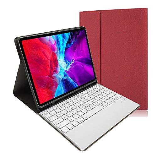 Funda con Teclado Bluetooth magnético para iPad Pro 12,9 2020 Funda con Soporte para lápiz Apple Funda con Teclado para iPad Pro 2020 11 2018 12,9 Pulgadas-Rojo_para iPad Mini 4 5
