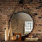 HLYT-0909 Rústica Pared Redondo Espejo de baño Grande Círculo Decorativo Espejo, Metal tocador de baño Espejos de Maquillaje cosmético del Espejo con el Colgante de la Cuerda de cáñamo, Negro