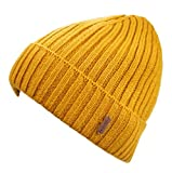 Connectyle Classic Men's Warm Winter Hats Thick Knit Cuff Beanie Cap with Lining (Mustard Yellow)