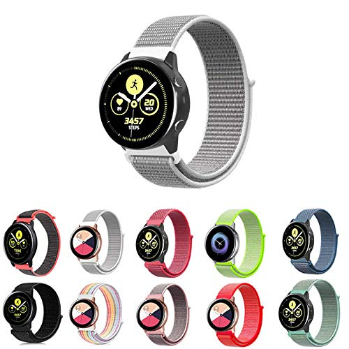 Pulseira Nylon Loop para Samsung Galaxy Watch Active 40mm e 44mm - Galaxy Watch 42mm BT - Gear S2 Classic - Gear Sport R600 - Amazfit Bip - Amazfit Gtr 42mm - Marca Ltimports (Cinza com Branco)