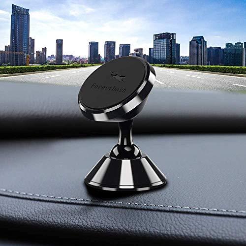 ForestDash Soporte magnético para teléfono móvil para coche, 360°, ajustable, magnético, soporte para salpicadero de coche, compatible con smartphone/iPhone/Samsung/Huawei, etc.