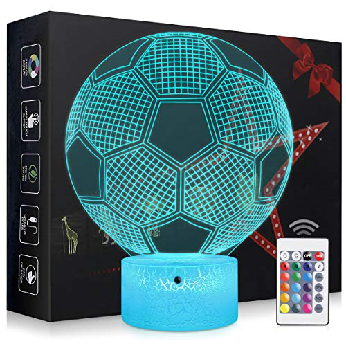 Elstey Soccer Night Light,3D Kids Bedside Lamps,Frame Table Lamp,Eye See Lamps,Touch&Remote Control,16 Colors+7 Colors Changing Illusion Nightlight,Birthday Gifts for Girls Boys