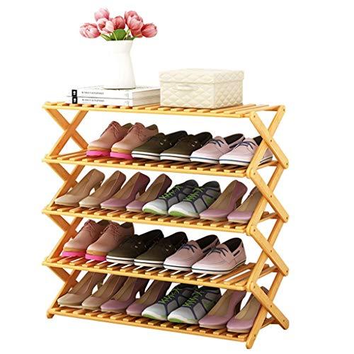 Busirsiz El Estante Plegable de Zapatos Puerta de Entrada Dormitorio Corredor 5 Capas del Ahorro de Espacio Organizador de bambú Botas