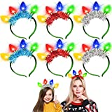 6 Pack New Year Eve Christmas LED Headband with Colorful Light Up Bulb 6 Flash Modes Christmas Party Favor Supplies Glow Accessories for Kids Adults Xmasw Accessories for Kids Adults Xmas