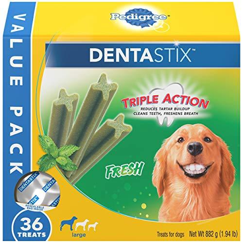 PEDIGREE DENTASTIX Dental Dog Treats for Large Dogs Fresh Flavor Dental Bones 194 lb Value Pack 36 Treats
