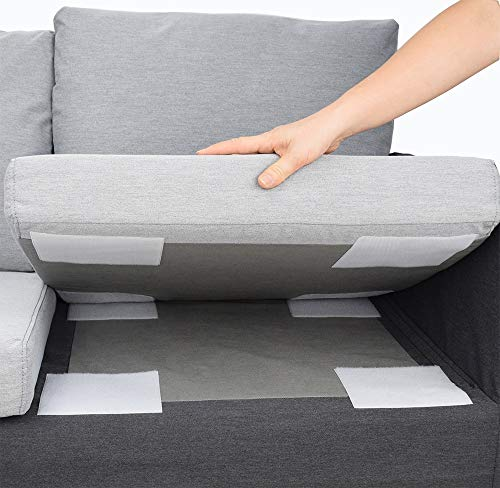 Aobrill Non Slip Cushion Pad, Hook Loop Tape for Reduce Couch Cushions Sliding (6 x 6 inch)- (4PCS, White)