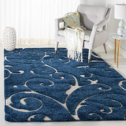 "Safavieh Florida Shag Collection SG455-6511 Scrolling Vine Dark Blue and Cream Graceful Swirl Area Rug (3'3"" x 5'3"")"