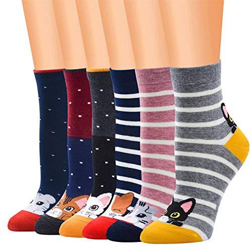 Kfnire Mujer 3D calcetines de pintura animal que tejen calcetines de lana de lana, 4 pares / 5 pares / 6 pares (A-02)