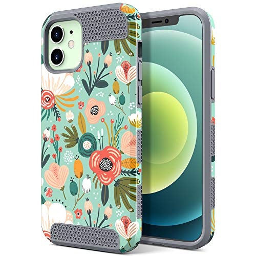 ULAK Compatible with iPhone 12 Mini Case, Slim Stylish Designed Shockproof Protective Hybrid Scratch Resistant Shock Absorbent TPU Bumper Phone Case for iPhone 12 Mini 5.4 inch (2020), Floral