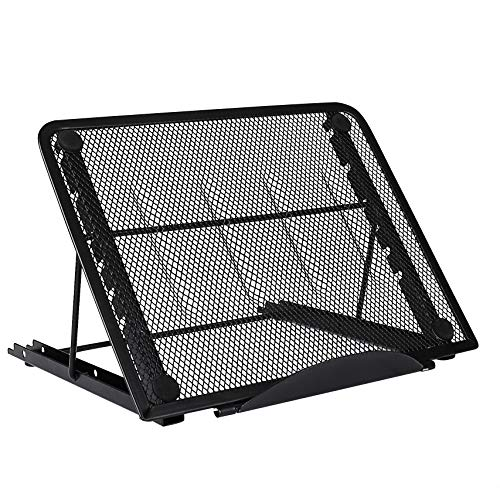 Soporte de Portátil Ergonomic Ventilado Acero Inoxidable Adjustable Laptop Stand para Macbook DELL XPS HP Negro