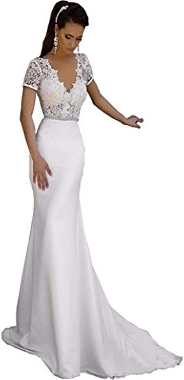 Ellystar Women's Mermaid Satin Short Sleeve Covered Button V Neck Bridal Dresses