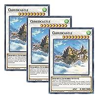 【 3枚セット 】遊戯王 英語版 KICO-EN039 Cloudcastle 浮鵺城 (レア) 1st Edition