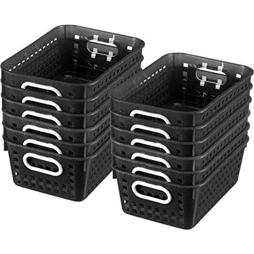 """Really Good Stuff Multi-Purpose Plastic Storage Baskets for Classroom or Home Use - Stackable Mesh Plastic Baskets with Grip Handles 11"""" x 7.5"""" (Black - Set of 12)"""