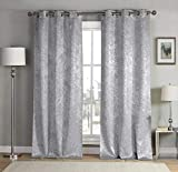 kensie 2 Pack Sparkle Metallic Thermal Insulated Blackout Grommet Top Curtain Panels, W37 X L84, Silver