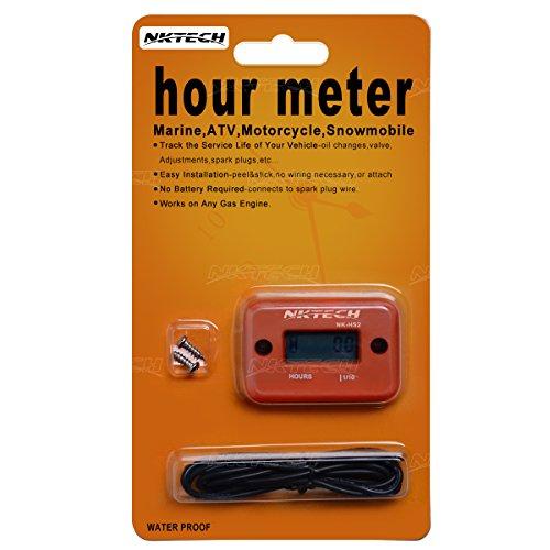 NKTECH NK-HS2 Inductive Hour Meter For Gas Engine Marine ATV Motorcycle Boat Snowmobile Dirt Ski Generator Waterproof Stroke Tachometer (Orange)