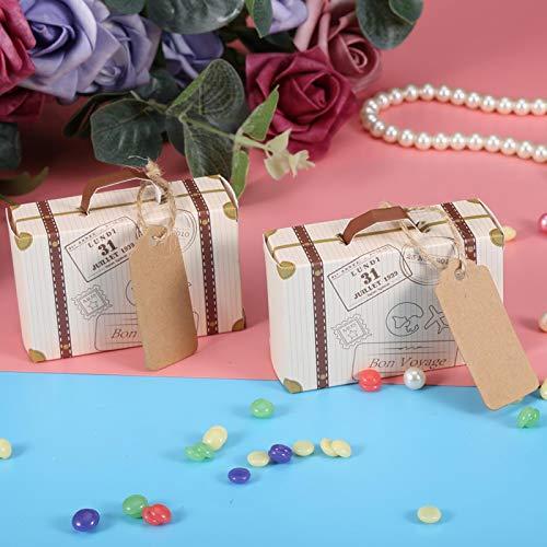 Mothinessto 50 Pezzi/Set Mini Scatola bomboniera Valigia per Tema Classico Giardino Tema Compleanno Decorazione per Matrimonio