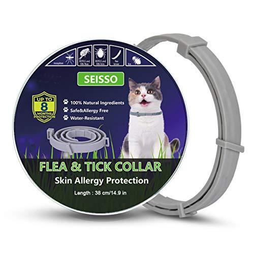 Seisso Collar Antiparasitos Gatos contra Pulgas,Garrapatas y Mosquitos,Tamaño Ajustable e Impermeable
