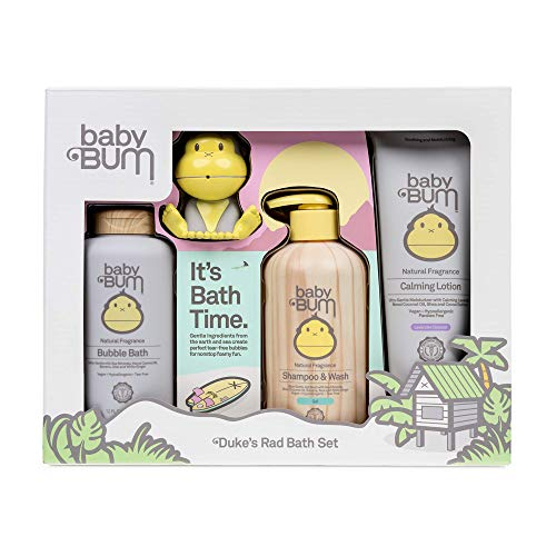 Baby Bum Duke's Rad Bath Set | Full Size Bath Essentials 4-Piece Gift Set with Toy for Sensitive Skin with Nourishing Coconut Oil | Natural and Coconut Lavender Fragrance | Gluten Free and Vegan