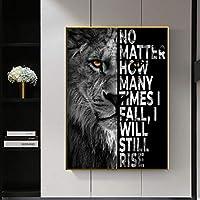 ブラックワイルドライオンモチベーションクォートアートキャンバス絵画壁アートポスタープリント壁の写真リビングルームの家の装飾-50x70cmフレームなし