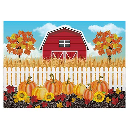 Funnytree 7x5ft Autumn Rural Farm Theme Party Backdrop Fall Harvest Pumpkins Patch Photography Background Thanksgiving Maple Leaves Baby Shower Birthday Cake Table Decorations Banner Photo Booth
