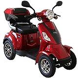 Rolektro E Quad 25 Rot Elektromobil Elektroroller 4 Rad 1000W 25 Km H RW 50KM Koffer R ckw rtsgang USB EU Zulassung