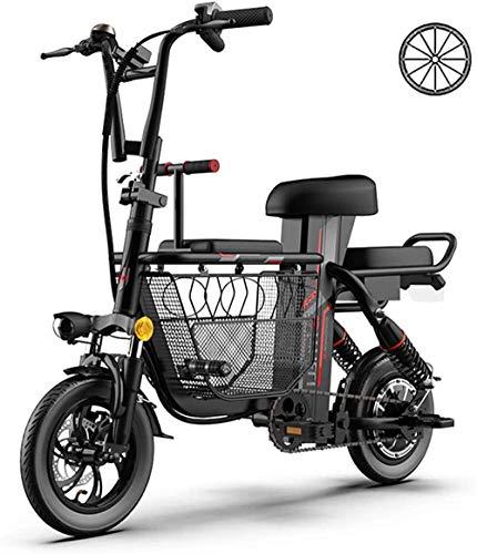 Bicicletas Eléctricas, Bicicleta eléctrica for Adult 12' 48V 8A padres e hijos 3 Asientos Montaña Scooter eléctrico a prueba de explosiones con Fat Tire plegable E-Bici con la cesta grande de almacena