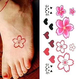 Oottati Small Cute Temporary Tattoo Flowers Heart Cat Finger (Set of 2)