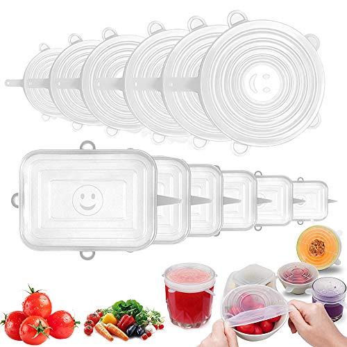 O-Kinee Tapas de Silicona EláSticas 12 pcs Tapas Silicona Reutilizables Silicone Stretch Lids,para Lavavajillas,Horno Microondas,Congelador,Libre de BPA (Transparente)