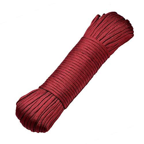 DonDon Cuerda de 30 Metros de Nylon Cuerda de Paracord Cuerda de Supervivencia para Actividades al Aire Libre, para Camping y para Manualidades 4 mm – 7 filamentos Burdeos Brillante