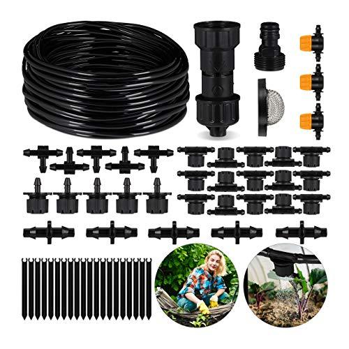 Relaxdays Bewässerungssystem Garten, 57-teilig, Micro-Drip-System, DIY Tröpfchenbewässerung Pflanzen, 20 m, schwarz