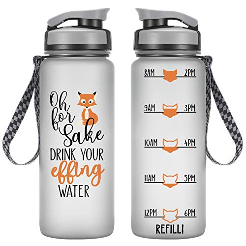 LEADO 24oz Motivational Tracking Water Bottle w/Time Marker - for Fox Sake Drink Your Effing Water - Funny Valentines Day, Birthday Gifts for Women, Friends, Girlfriend, Mom, Daughter, Coworker, Her