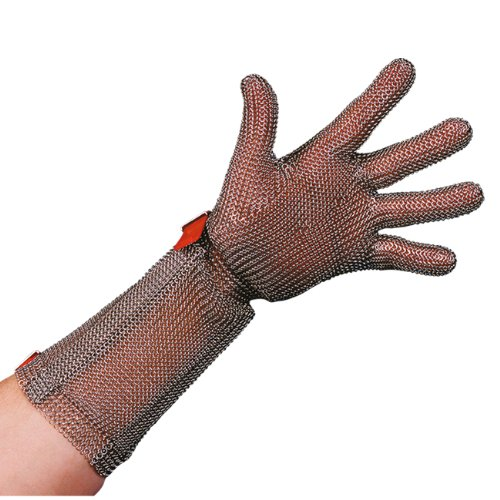 Stahlnetz Stechschutzhandschuh PROTEC 20 cm Stulpe, EN 1062, Größe M