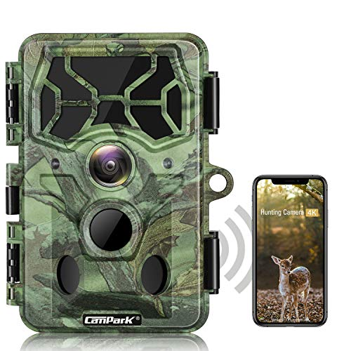 Campark 4K WiFi Trail Camera-30MP Bluetooth Hunting Game Camera with Night Vision Motion Activated Waterproof IP66 for Wildlife Monitoring
