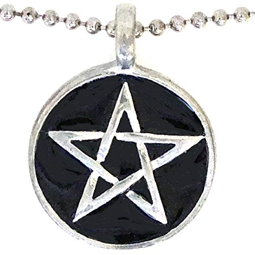 Black Wicca Pagan Magic Pentagram Pentacle Star Wiccan Witchcraft Unisex Men's Pewter Pendant Necklace Protection Amulet Wealth Money Lucky Charm Safe Travel Talisman Medallion with Silver Ball Chain