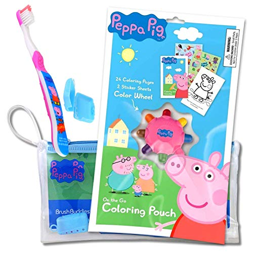 Peppa Pig Travel Kit with Peppa Toothbrush in a Zippered Resealable Travel Bag Bundled Includes Peppa Pig Activity Set with Crayon, Stickers, and Mini Coloring Book