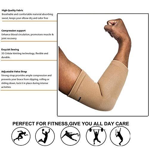 Senston 1 Stück Ellenbogenbandage – Atmungsaktiv/Schweiß absorbent/Beste Schutz für Ellenbogen – Ellbogenschützer Elbow Support Arm Sleeve Kompression Armstulpe - 5